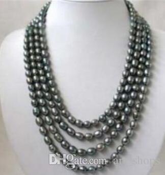 Бесплатная доставка @@@@@ AGenuine Ювелирные изделия 4row Черный FW жемчужное ожерелье 7-8 мм
