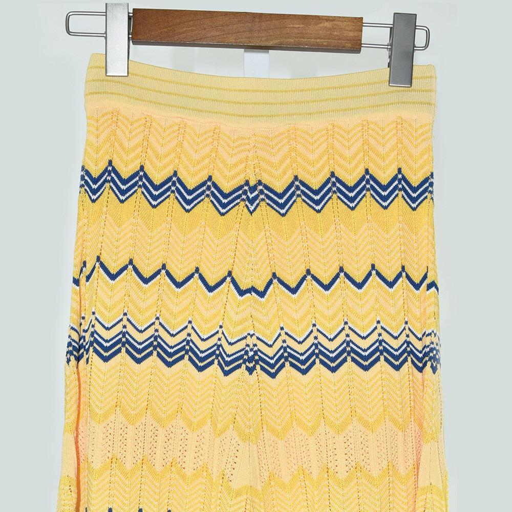 Francês Elegante Onda De Cores V Seda De Gelo Cintura Gao Temperamento Popular Tricotar Dinheiro Longo Meia Saia De Corpo 91031