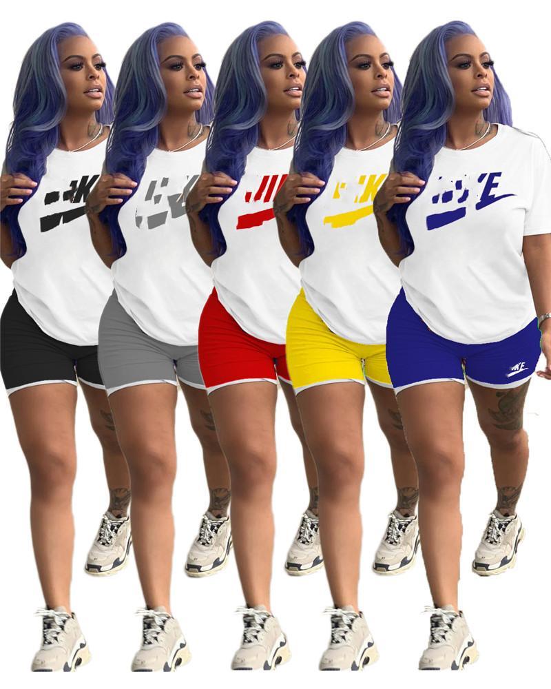 Женщины Плюс Размер костюмы S-3XL Эпикировка с коротким рукавом 2 шт Комплект спортивной футболки + шорты Jogger Костюм летний Streetwear Одежда 3168
