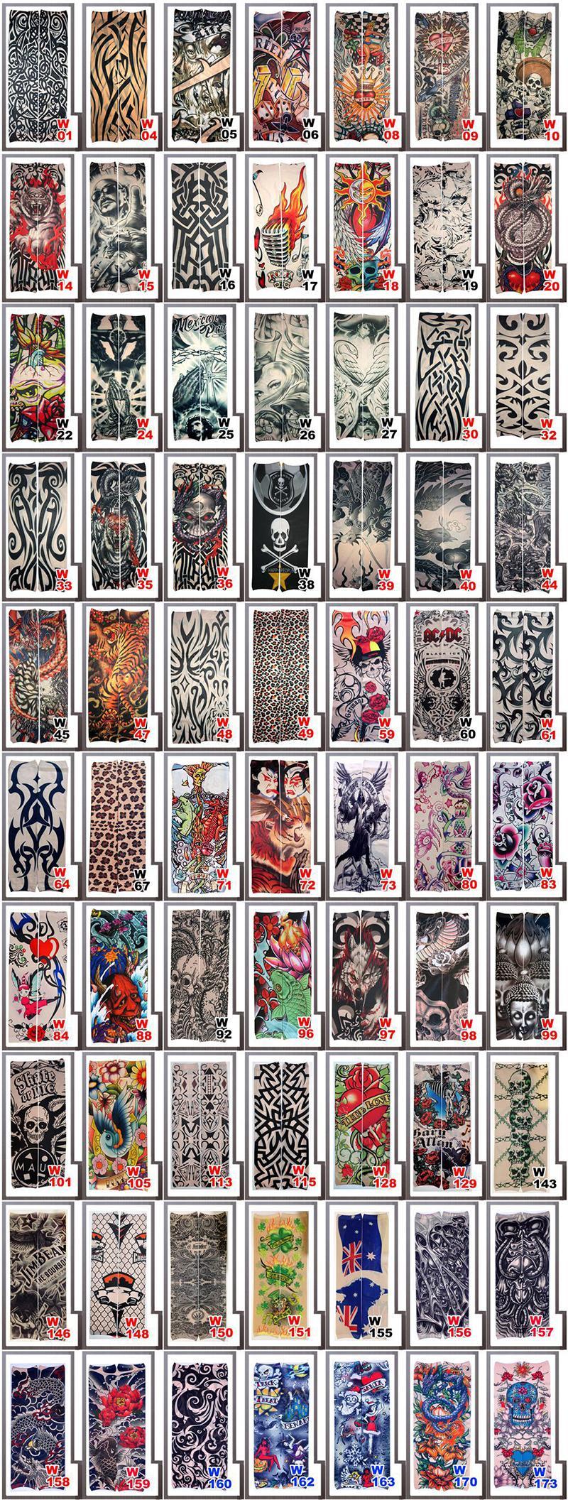 Moda Mangas Elásticas Do Tatuagem Equitação Cuidados Com Os UV Legal Impresso À Prova de Vento-Braço Luva de Proteção Falso Tatuagem Temporária para Mulheres Dos Homens