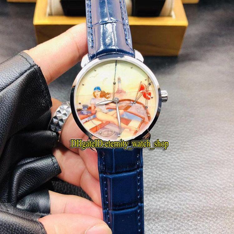 클래식 제조 3203-136LE-2 / MANARA.02 Miro Manara Paintings 다이얼 2892 오토매틱 Mens 시계 904L Steel Case Leather Strap Sport Watchs