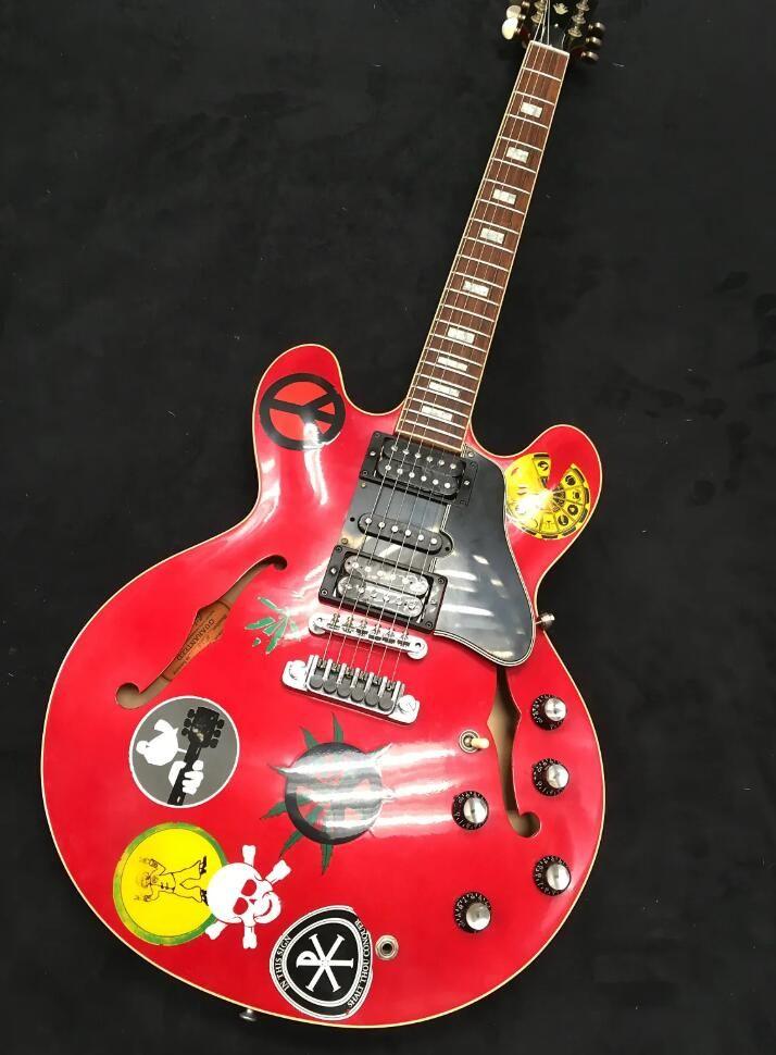 Personalizado Alvin Lee guitarra Big Red 335 semi oco da guitarra do corpo Jazz Cherry Red Eléctrica Small Block embutimento 60 Neck, HSH Pickups, Grover sintonizadores