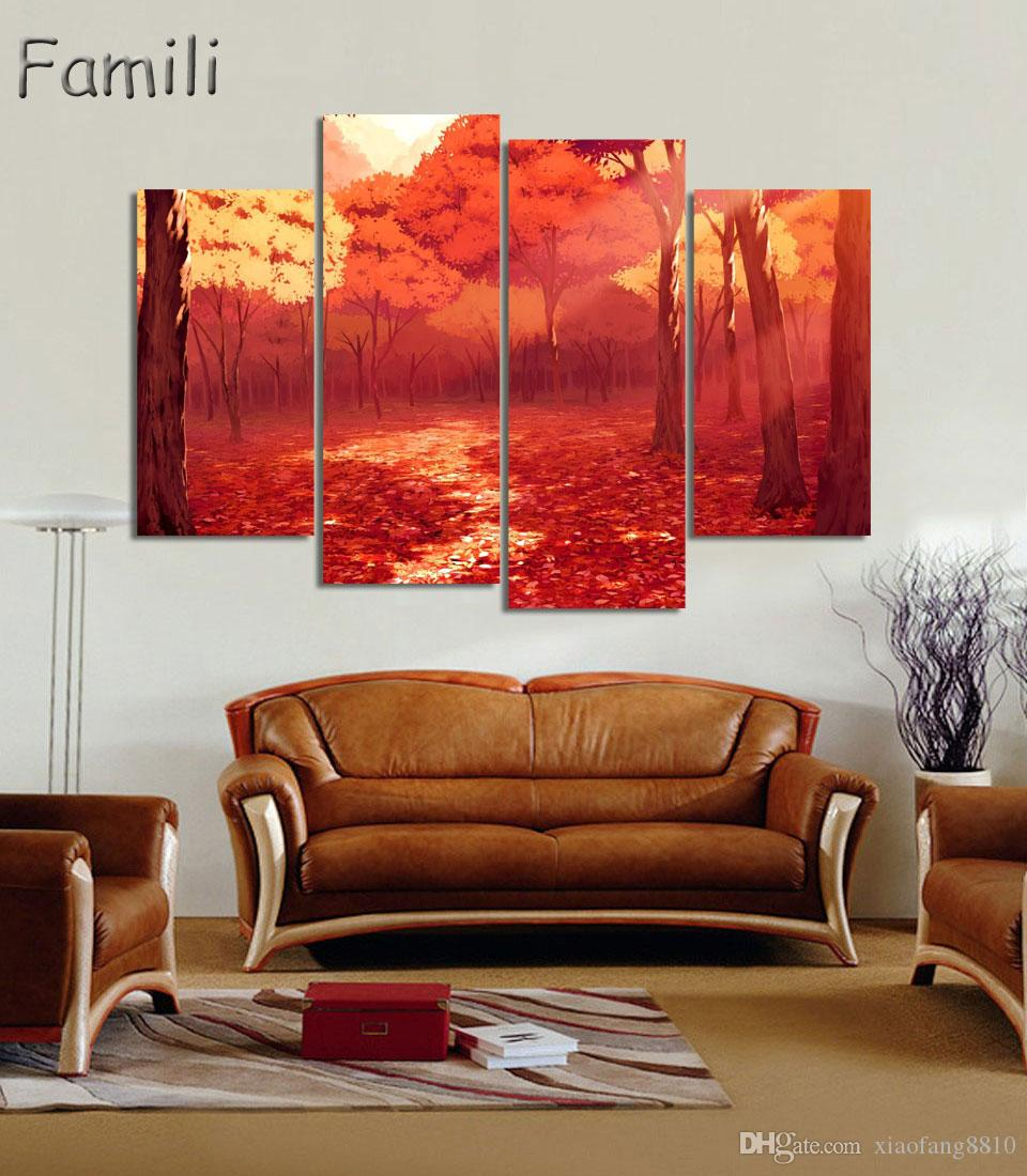4Picture Unframed Large Modern Printed Oil Painting Picture Cuadros Decoration Canvas Wall Art For Living Room Beautiful Filed Posters
