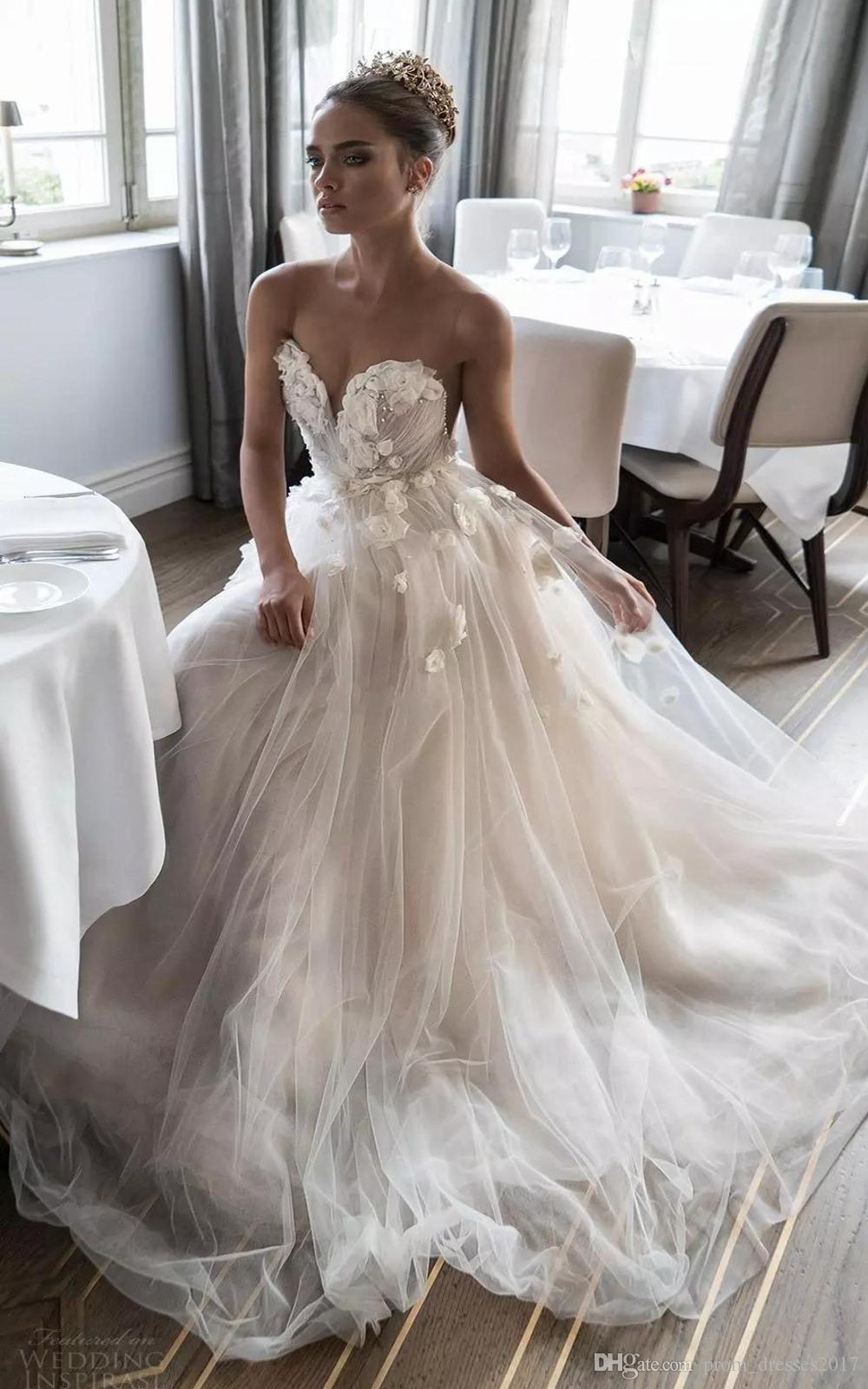 Moderno design original flor artesanal vestidos de casamento sweetheart pérolas tulle uma linha design romântico vestidos de noiva feito sob encomenda
