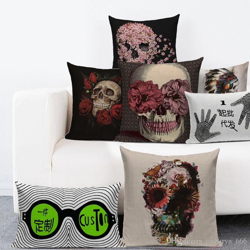 Durável de Algodão de Linho Quadrado Decorativo Lance Fronha Cobre Capas Casos para o Crânio Do Sofá Série Halloween Moda Casa Show