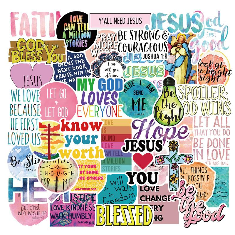 50pcs lot Jesus Christ Faith Addicts Fashion Waterproof PVC Removable Stickers Laptop Guitar Luggage Case Car Motorcycle Graffiti Stickers
