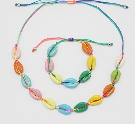 Colorful summer hot sale bracelet jewelry women fashion shell choker gift trendy girls shell necklace GB1104