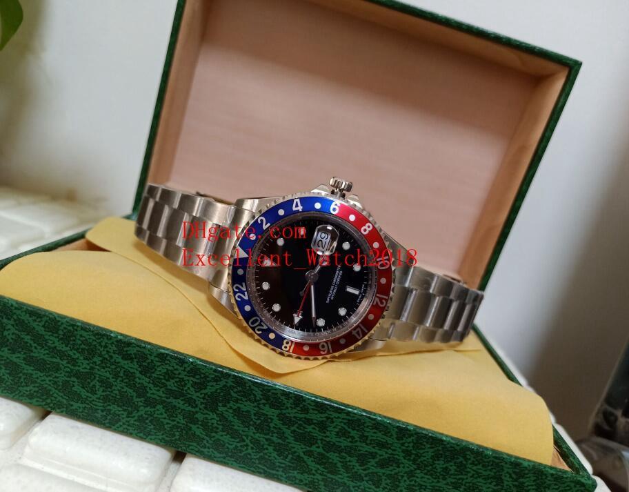 Heißen Verkauf-BP Herren-Uhren 40 mm Geschenk-Box 16710 1675 16710 Pepsi Edelstahl Zifferblatt schwarz Asia 2813 Uhrwerk Automatik Männer Wristwatche