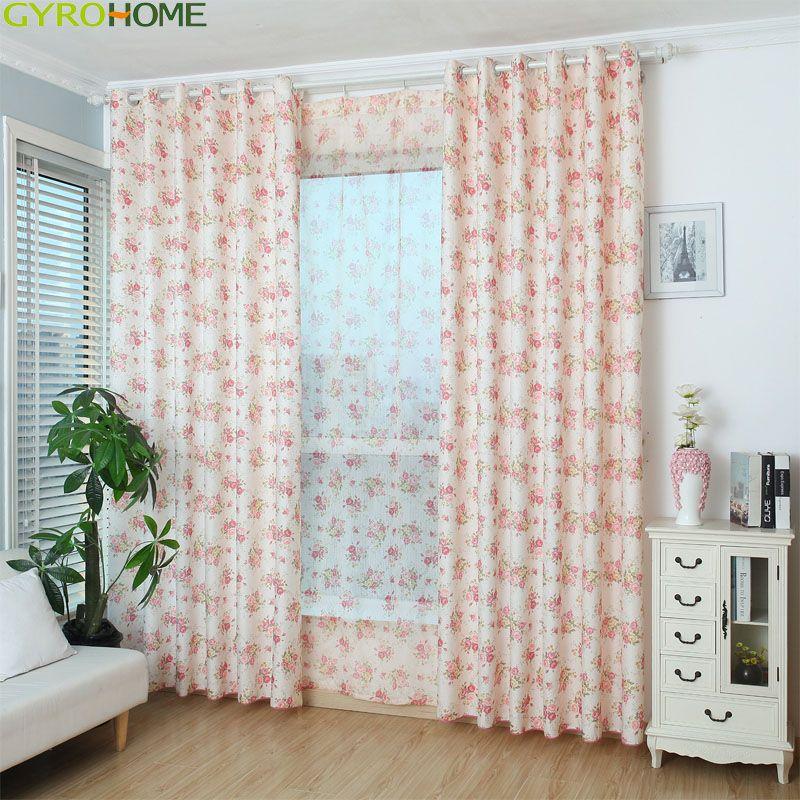 Rosa azul floral impresso cortina para o quarto sala de estar pastoral campo rural janela francesa voile