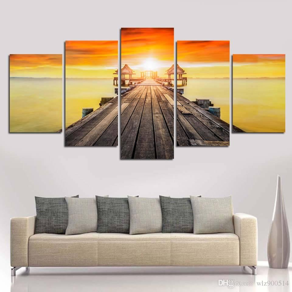 HD Printed Posters Modern Painting 5 Piece/Pcs Sea Wood Bridge Sunset Scenery Home Decor Wall Art Pictures (No Frame)