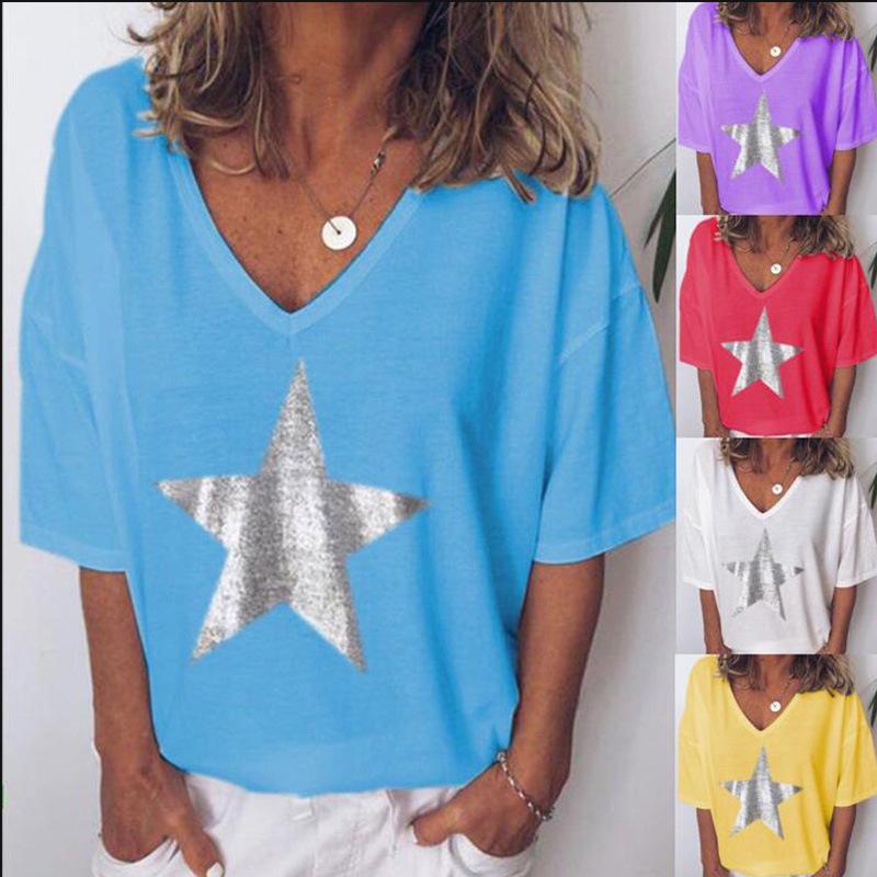 Серебряный Bling Star Printing Tops 20ss Новая Женская футболка V-образным вырезом свободный топ Европа и Америка стиль Женская блузка плюс размер от goodface