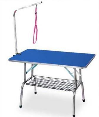 Mais barato Tabela Grooming aço inoxidável dobrável Pet para pequeno pet portátil operacional Rubber Table Bath superfície da mesa-de-rosa azul