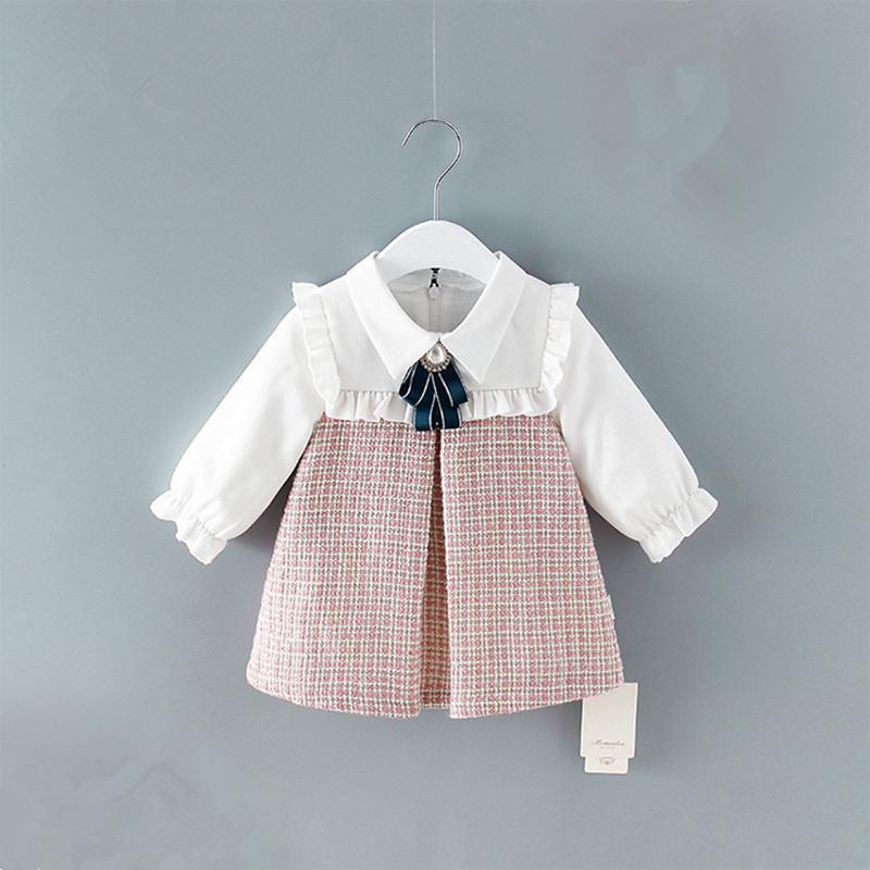 Cute Newborn Infant Toddler Baby Girls Dress A-line Lantern Sleeve Kids Dress Plaid Clothes 0-2y J190506