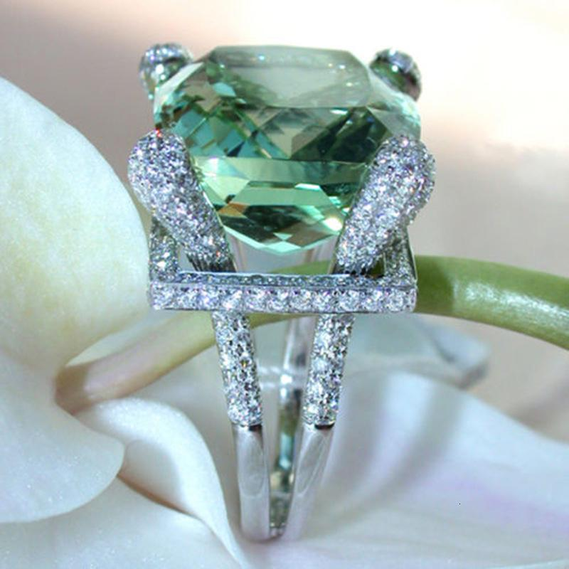 14K Peridot smeraldo gioielli Topaz Ring per le donne Mystic Anelli De Biżuteria pietra preziosa del quadrato del diamante del turchese Anello di modo CJ191210