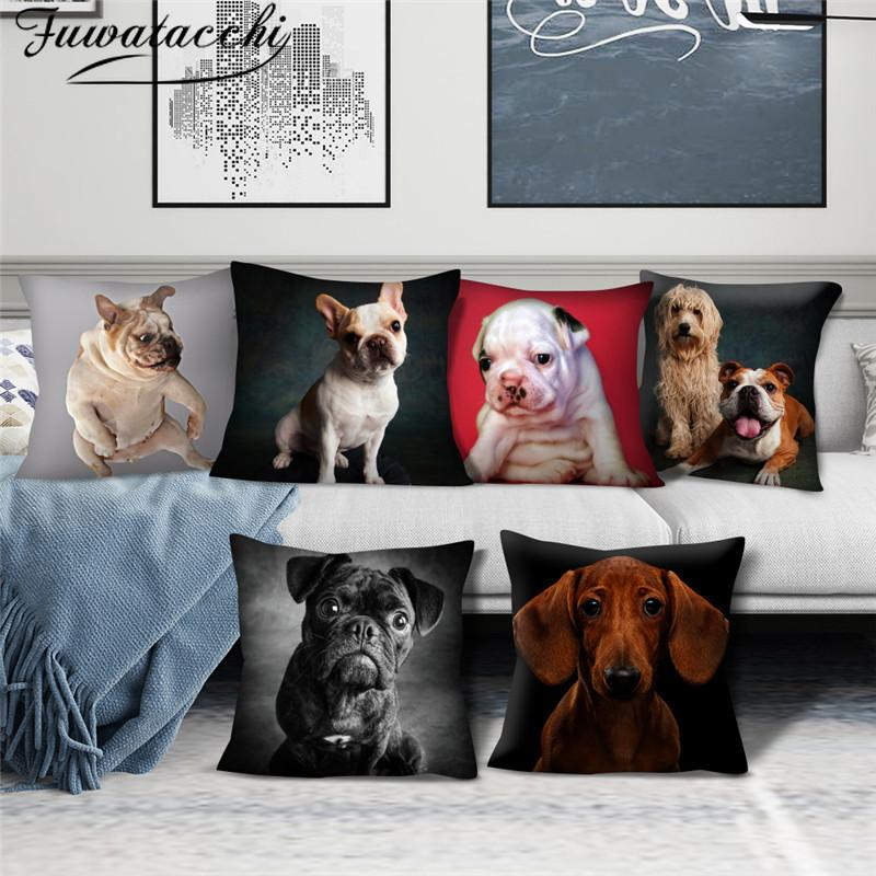 Fuwatacchi Animal Cushion Covers Cute Dog Pattern Pillow Cases Cotton for Bedroom Sofa and Car Decorative Pillow Covers 45*45cm
