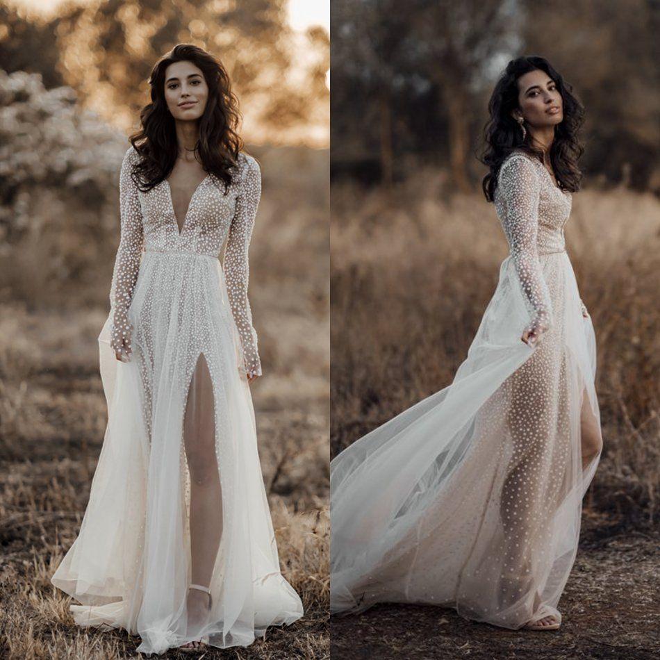 Newest 2020 Long Sleeve Split Wedding Dresses A Line V Neck Wedding Gowns Lace Tulle Sequins Formal Dress Layered Bohemian Bridal Dress