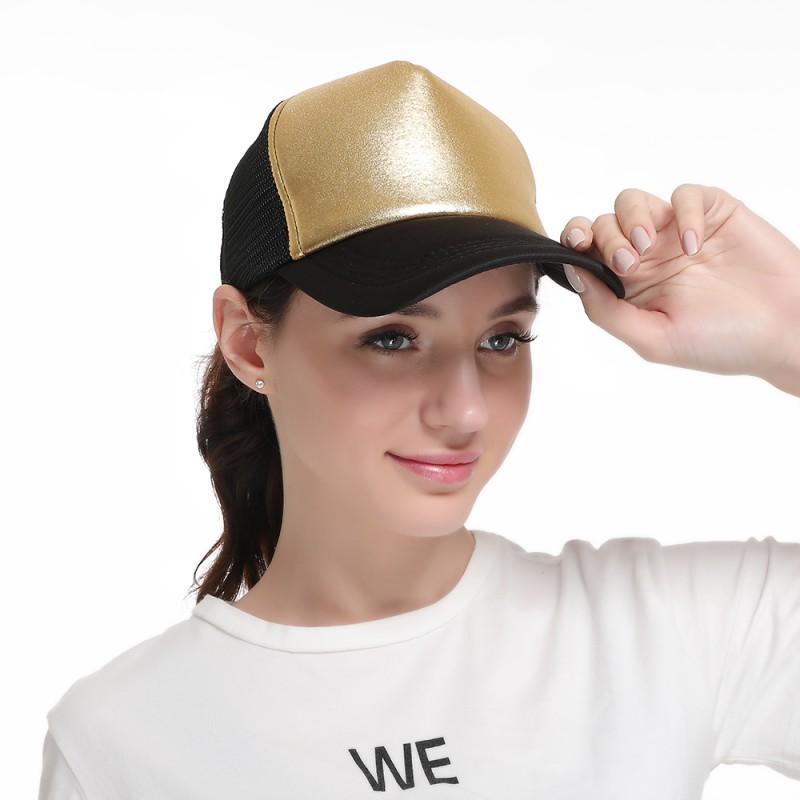 Femmes Fille Glitter Baseball Cap Fashion Casquettes de base-ball bronzante chaud argent brillant visage été Sun Caps Mesh Outdoor Hat