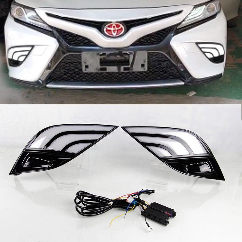 1pc für Toyota Camry 2018 2019 DRL Nebel-Lampe des Auto-LED Weiß Gelb Blinker wasserdichte LED-Tagfahrleuchte Nebel-Lampen-Birne