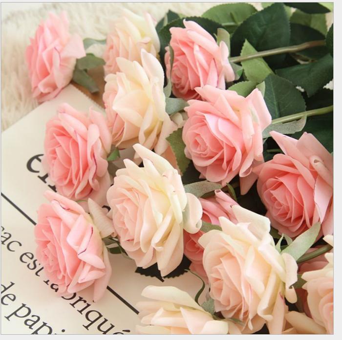 30pcs MOQ Individual Realmente Toque Latex Artificial Flower Rose para decoração de casamento decoração de festa de aniversário férias Roses falsificados Supplies