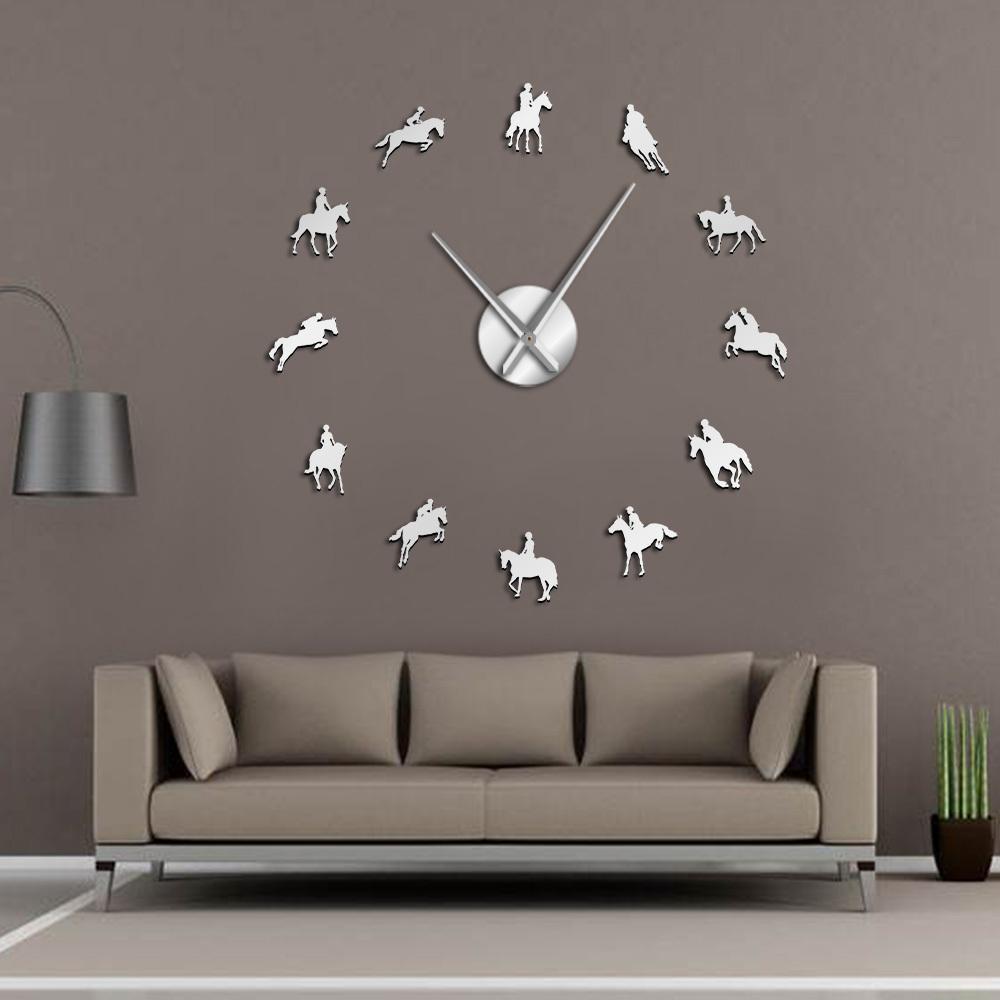 Equestrian Orologio da parete fai da te Grande ippica Arte adesivi murali Horse Race equitazione effetto specchio Arylic Clocks T200601