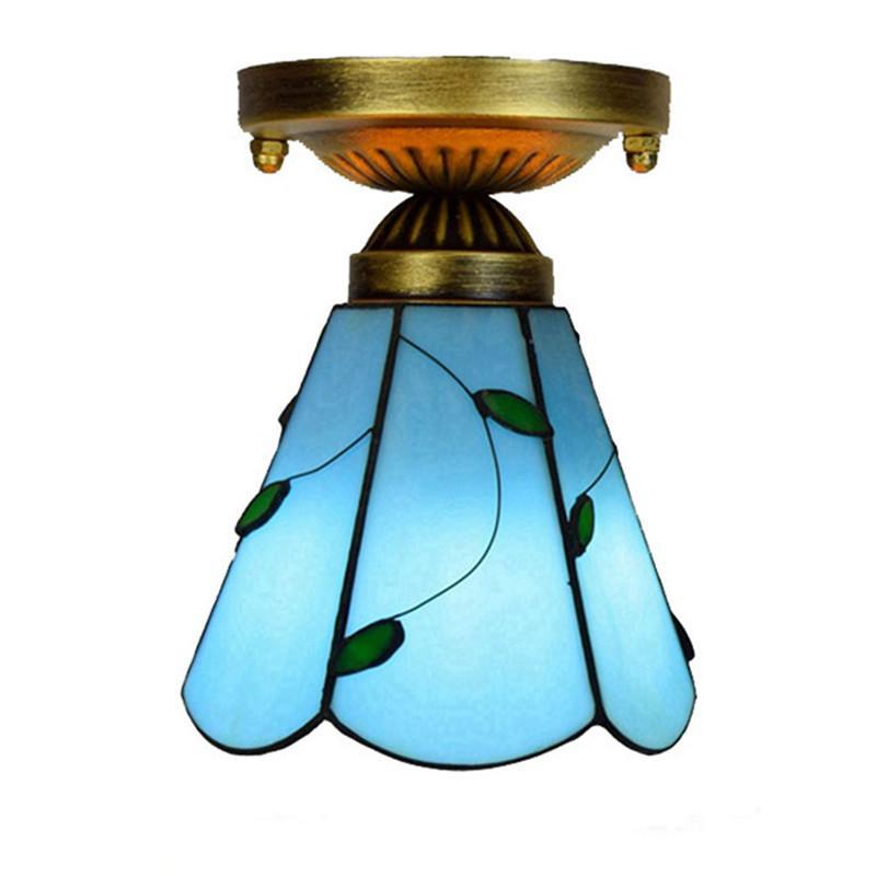 저렴한 티파니 스타일의 스테인드 글라스 천장은 6 인치 블루 리프 아트 데코 유리 빛 통로 복도 발코니 작은 천장 램프 TF063 조명