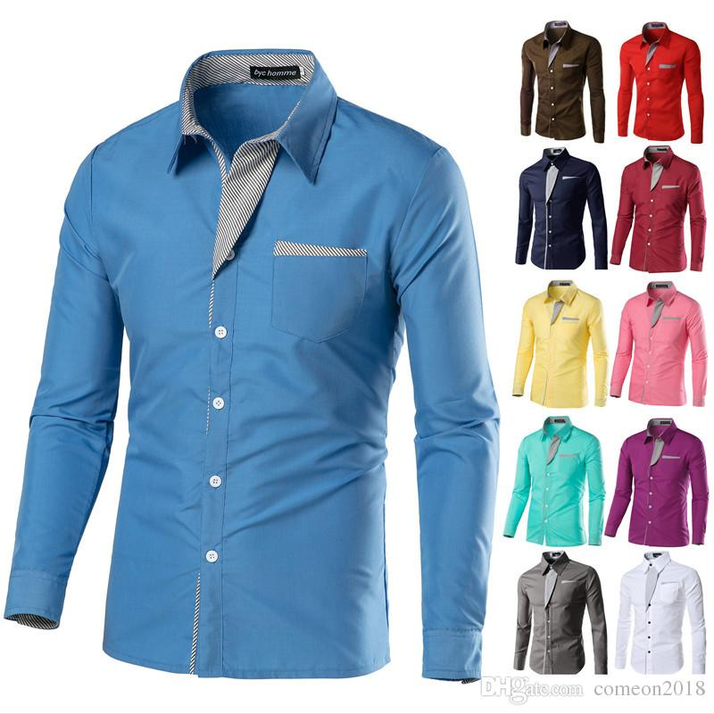 mens designer turn-down collar t shirts 2019 Autumn Cotton Long Sleeve Dress Shirts High Quality Mens Casual Men Slim Fit Social Shirts