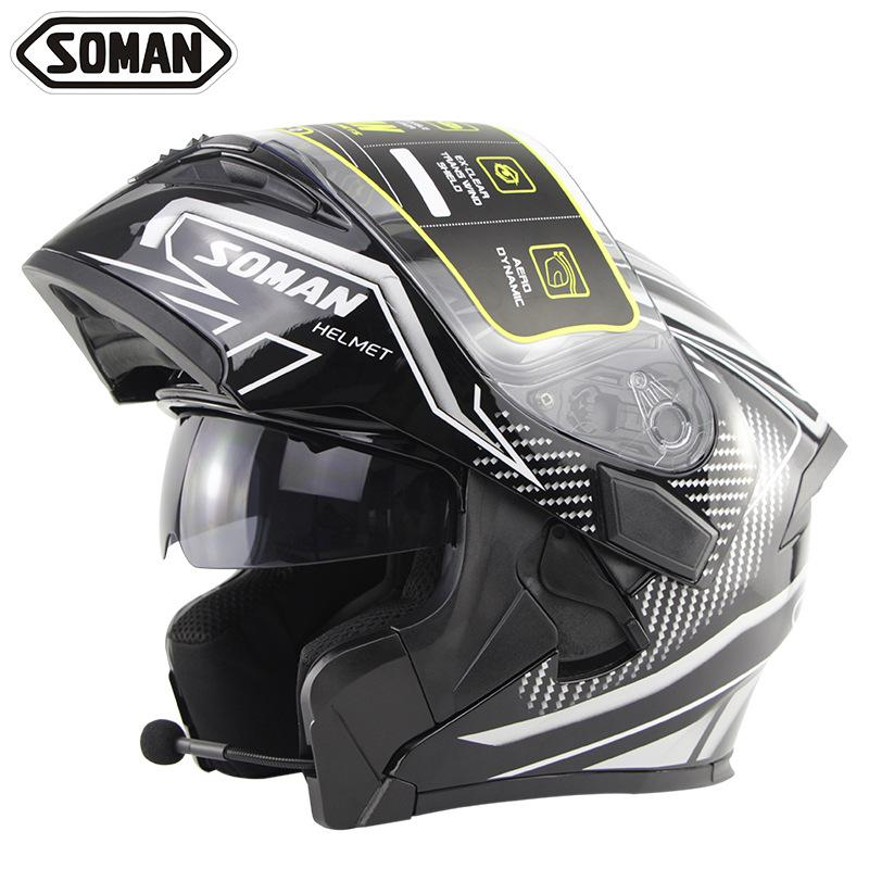 Bluetooth Motorcycle Helmet ECE DOT Flip Up Modular Casco Moto Motorbike Dual Lens Full Face Helmet With Bluetooth Headset