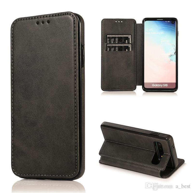 Per S10 S10E S10Plus Huwei P30 Pro Lite magnetica della cassa del raccoglitore di lusso PU delle cellule del supporto in pelle Soft Phone TPU carta di credito slot