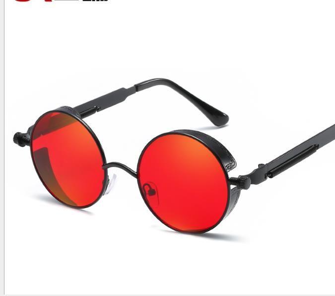 Neue Sonnenbrille mit rundem Gestell. Metallbeine mit Springflut reflektieren die Retro-Sonnenbrille von Brilliant Lady