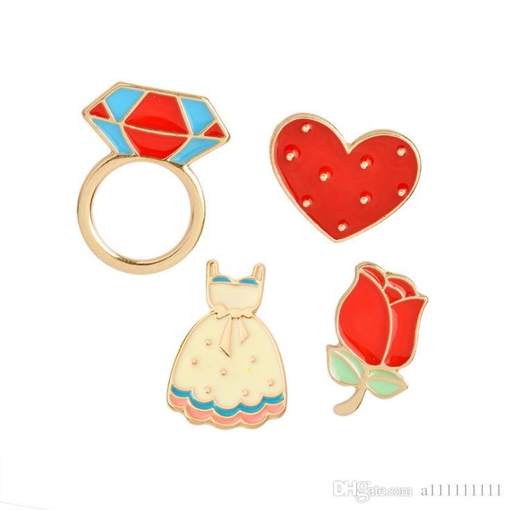 High Quality Cartoon Cute Romantic Rose Flower Dress Heart Shape Metal Brooch Pins Button Fashion Enamel Pin