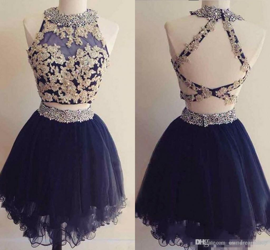 Cute Two Pieces Mini Short Homecoming Dresses Navy Blue Appliques Beaded Backless Sweet 16 Graduation Dresses Short Cocktail Party Dresses