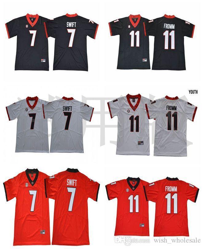 Maglie Georgia Bulldogs 7 D'Andre Swift Jersey 11 Jake Fromm 1 Sony Michel 27 Nick Chubb 10 Eason Football College Maglie cucite su misura