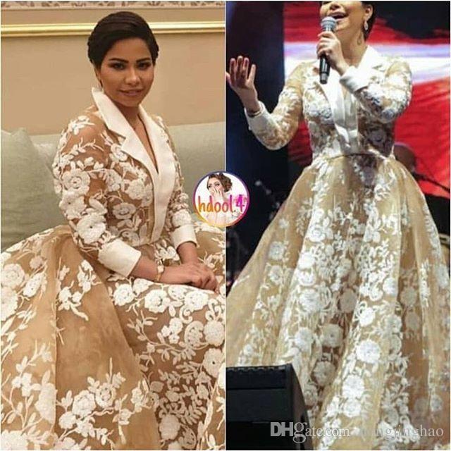 2019 champanhe moda árabe vestidos de noite appliqued decote V uma festa linha de varredura trem prom vestidos cumstom feita