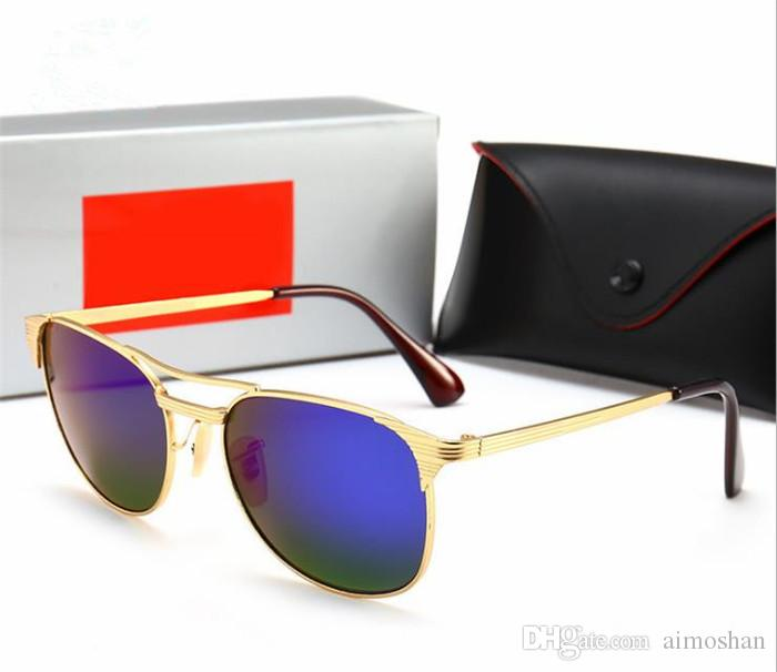 2019 Sunglasses women men Brand Designer Metal Frame Unique Hexagonal Flat lens Coating uv400 Sun glasses Eyewear with box and cases