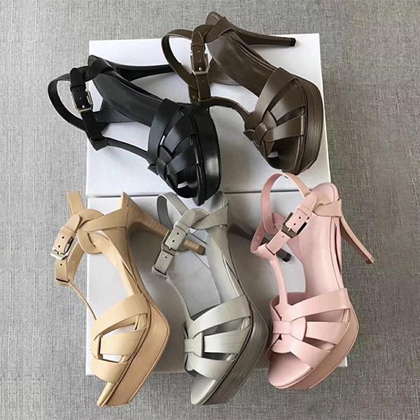 Clásico Mujeres tributo talones de cuero de alta patente de la plataforma sandalias peep-toes T-correa vestido de 14cm zapatos zapatos de boda de 10 cm con la caja US 4-11