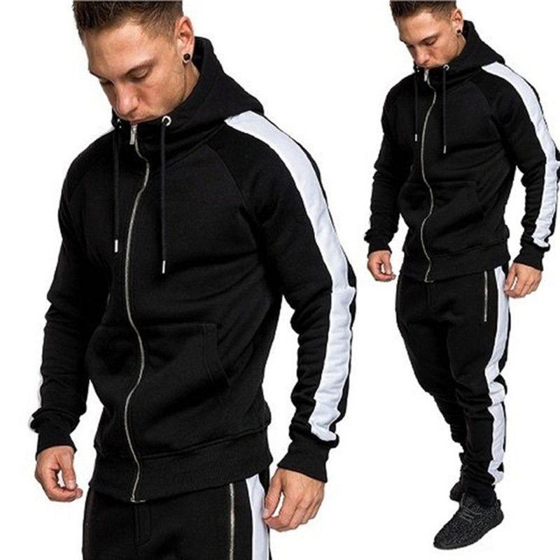 남성 Tracksuits Outwear 후드 지퍼 Sportwear 세트 남성 스웨터 카디건 남자 세트 의류 바지 패션 플러스 크기 S-3XL