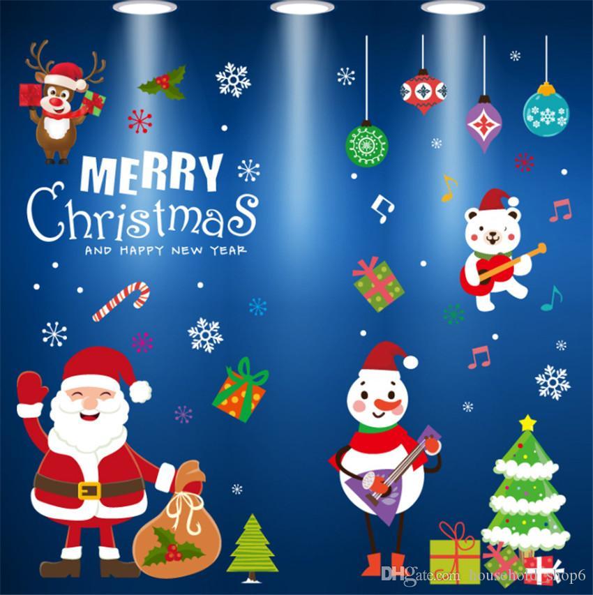 Janela de Natal estática adere-se adesivos de carro de vidro eletrostática decalques decorações de desenhos animados adesivo parede decorativa de Ano Novo para casa e jardim A08