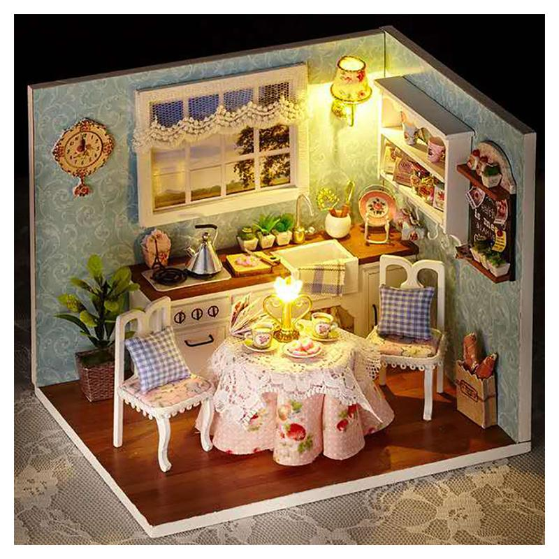 Diy Dolls House Happy Kitchen Doll House Miniatures Handmade Model