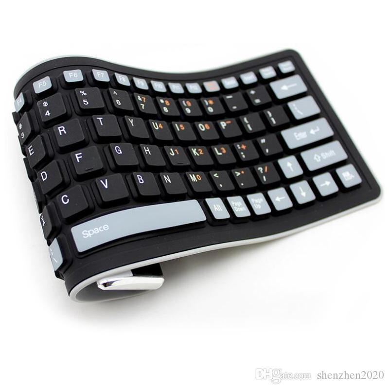 최고 판매 실리콘 방수 키보드 무선 블루투스 소프트 패션 믹스 컬러 유연한 휴대용 키보드 노트북 0.4 키로그램