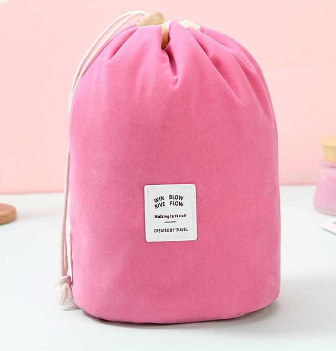 2pcs Barrel Shaped Cosmetic Bag Women Corduroy Plain Blank High Capacity Drawstring Wash Bags