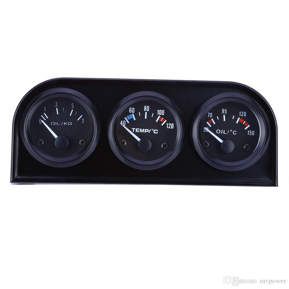B735 52MM 3 in 1 Car Meter Auto Gauge Water Temperature Oil Pressure Sensor Triple Kit