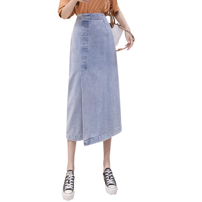 5XL Plus dril de algodón de las mujeres del tamaño de la falda 2020 nueva versión coreana era falda del paso de la fractura retra de mezclilla delgada
