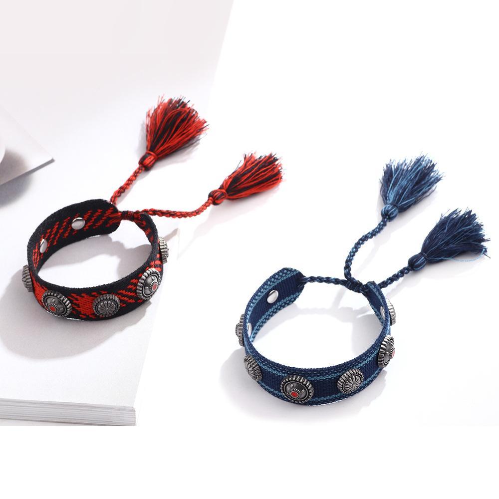 2020 Meilleures ventes Femmes style bohème cadeau fait main coloré cordon tissé Bracelet réglable 16cm Tassel Bracelet