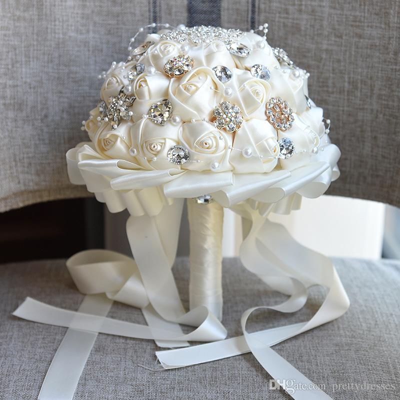 2019 مدهش بلينغ كريستال بروش اليدوية الحرير روز العرسان باقات زهور العروسة العروسة مخصص باقة