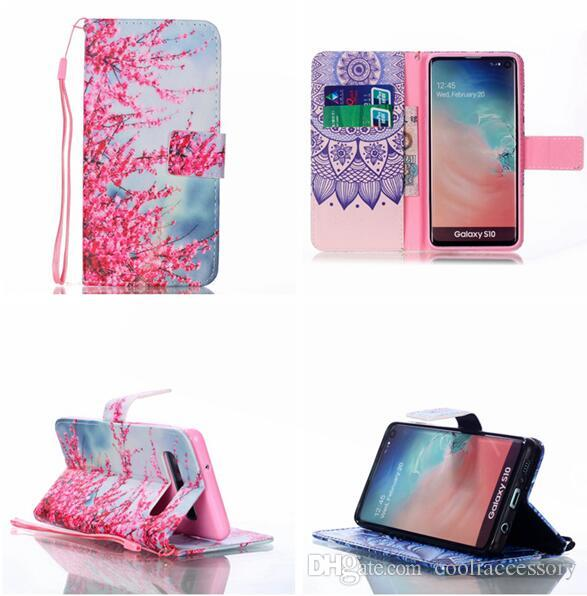 Flower Strap Wallet Leather Case For Samsung Galaxy S10 PLUS S10E Huawei P30 LITE PRO Stand Cartoon Butterfly Dream catcher Skin Cover 1pcs