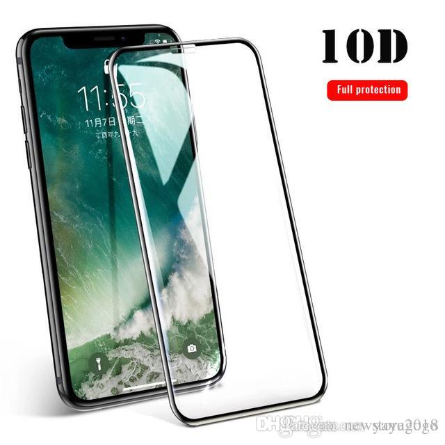 Top sell New 10D Full Protection Curved Clear Tempered Glass For iPhone X XS Max XR Cover Screen Protector For iPhone 7 8 6 6S Plus Glass