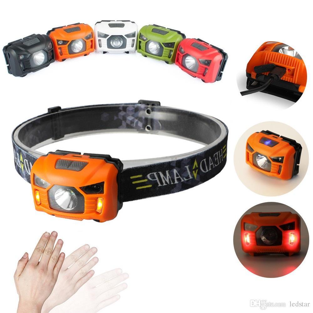 5W LED Corps détecteur de mouvement Lampe frontale Mini phare rechargeable camping en plein air lampe de poche tête Lampe torche avec USB