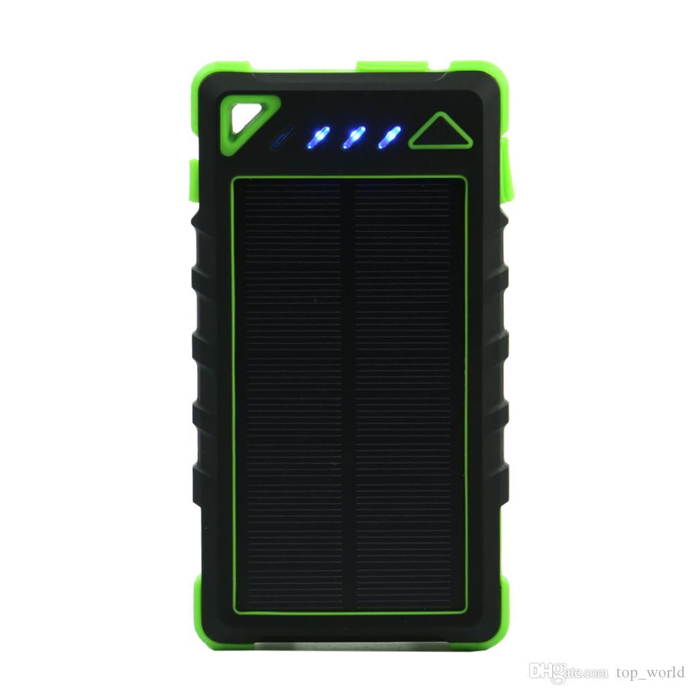 태양 전원 은행 8000mAh 휴대용 방수 충전기 PowerBank 8000 MAh 듀얼 USB 외부 배터리 충전기