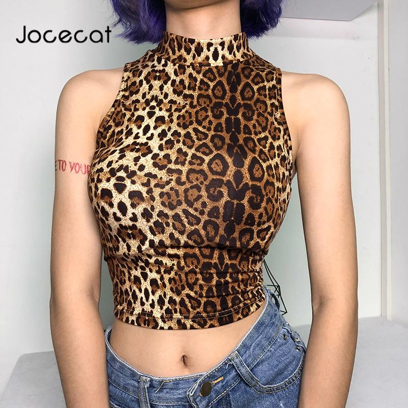 Leopard Print Crop Top Women Sexy Sleeveless Summer Cropped Feminino Tops Clubwear Fashion Autumn Tank Top Streetwear