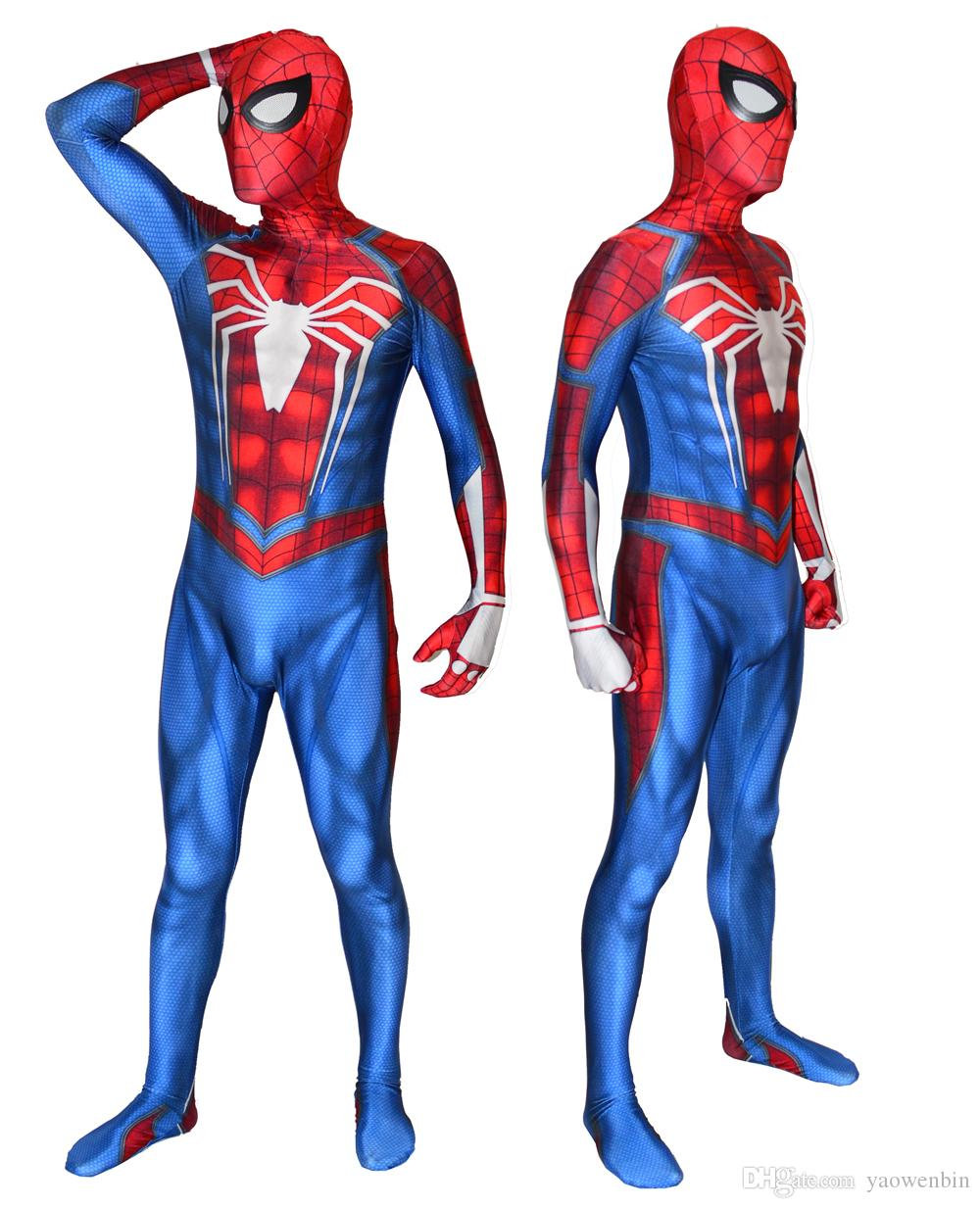Game PS4 Spiderman Costume Lycra Spandex High Quality Insomniac Spider-man Cosplay Bodysuit For Adult/Kids Halloween costume